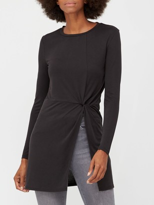 Very Soft Touch Twist Detail Tunic - Black
