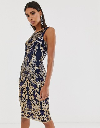 Goddiva high neck midi embellished sequin dress in navy