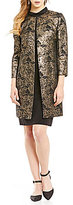 Alex Marie Mackenzie Mid-Thigh Metallic Jacquard Topper Jacket