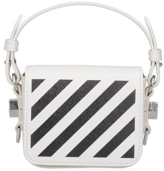 Off-White Striped Top Handle Crossbody Bag