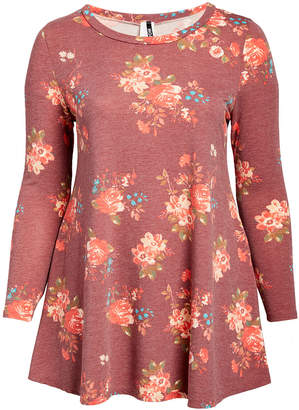 Moa Collection MOA Collection Women's Tunics Heather - Burgundy & Pink Floral Crewneck Pocket Tunic - Plus