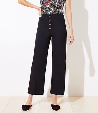 LOFT Petite Button Front High Waist Wide Leg Ankle Pants