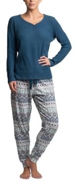 Muk Luks Stretch Waffle Fleece Pajama Set