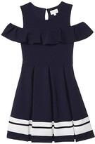 BCBGMAXAZRIA Girls Girls Liverpool Contrast Stripe Hem Cold-Shoulder Dress (Big Kids) (Deep Sea Navy) Girl's Dress