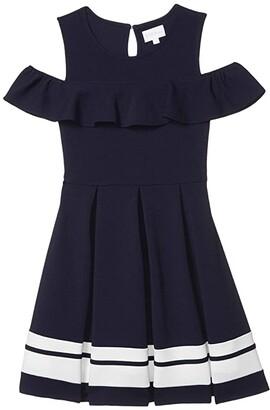 BCBG Girls Liverpool Contrast Stripe Hem Cold-Shoulder Dress (Big Kids) (Deep Sea Navy) Girl's Dress