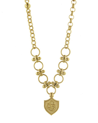 Foundrae Snake Coin Edge Crest On Dotted Necklace - Yellow Gold