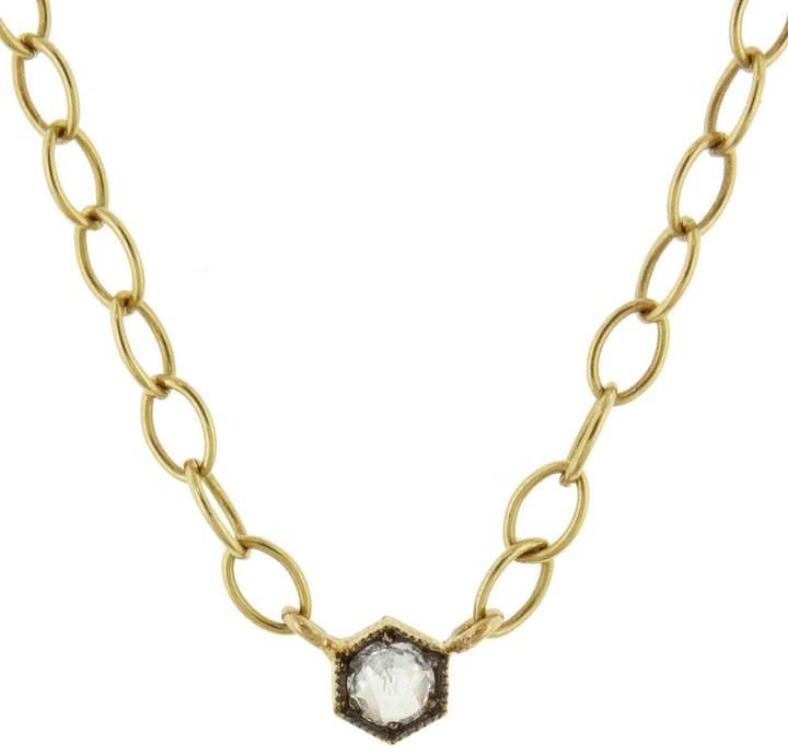 Cathy Waterman B&W Rose Cut Diamond Necklace - Yellow Gold