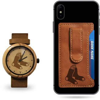 Sparo Boston Red Sox Wood Watch and Phone Wallet Gift Set