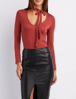 Charlotte Russe Tie-Neck Plunging Top