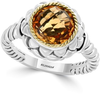 Effy Sterling Silver & 18K Yellow Gold Citrine Floral Ring - Size 7