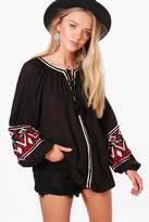 boohoo Victoria Boutique Embroidered Woven Tunic black