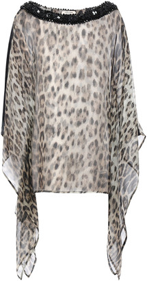 Roberto Cavalli Draped Sequin-embellished Leopard-print Silk Kaftan