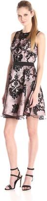 Gabby Skye Women's Sleeveless Round Neck Lace Fit & Flare Dress