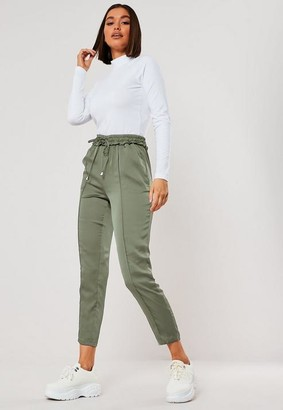 Missguided Green Satin Seam Detail Cigarette Pants