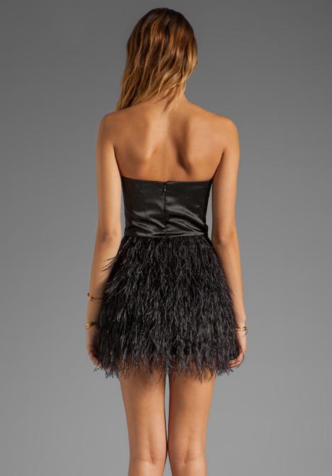 Blaque Label Feather Skirt Strapless Dress