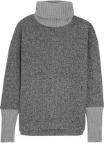 J.Crew Cashmere-trimmed fleece turtleneck sweater