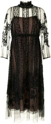 Biyan Embellished Tulle Midi Dress