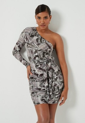Missguided Marble Print One Shoulder Mini Dress