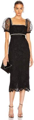 Self-Portrait Fine Lace Square Neck Midi Dress in Black   FWRD