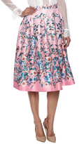Champagne & Strawberry Finch Floral Midi Skirt