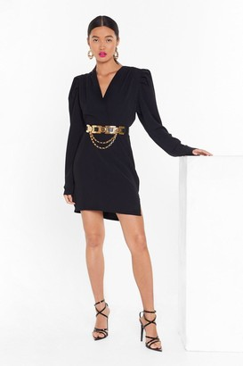 Nasty Gal Womens Take It to the Extreme Puff Shoulder Mini Dress - Black