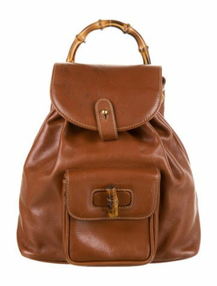 Gucci Vintage Mini Leather Bamboo Backpack Brown