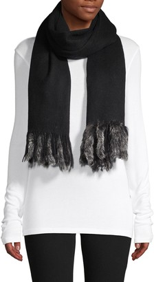La Fiorentina Fringed Rabbit Fur Wool Wrap Scarf