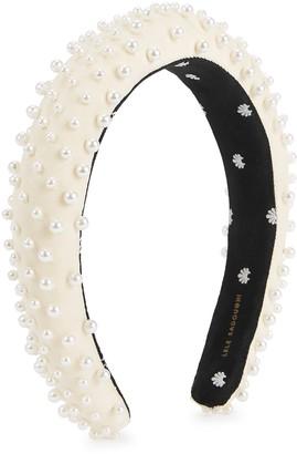 Lele Sadoughi Ivory Embellished Satin Headband
