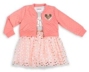 Little Lass Little Girl's 2-Piece Love Foil Print Jacket & Cotton-Blend Dress Set