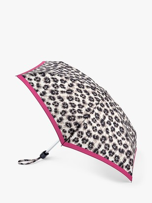 Fulton Tiny Leopard Print Border Detail Umbrella, Grey/Multi