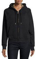 Burberry Check-Lined Hoodie, Black