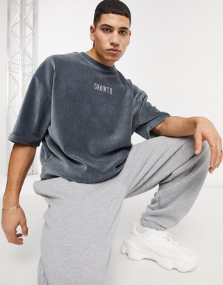 ASOS DESIGN relaxed cord t-shirt with front text embroidery in grey