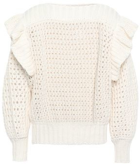 Philosophy di Lorenzo Serafini Ruffle-trimmed Open-knit Cotton-blned Sweater
