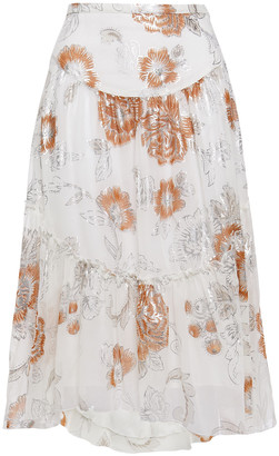 See by Chloe Floral-print Silk And Cotton-blend Crepon Skirt