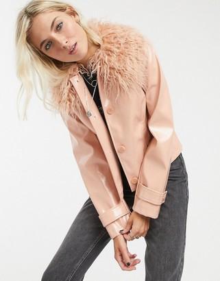 Topshop vinyl crop jacket with faux fur collar in pink