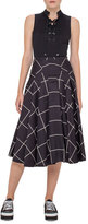 Akris Punto Pleated Windowpane Midi Skirt, Black/Cream