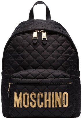 Moschino Quilted Logo-Plaque Backpack