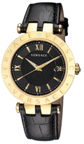 Versace V-Race Black Dial Leather Watch, 42mm