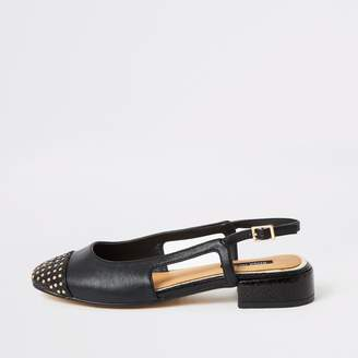 River Island Womens Black studded toe low block heel shoes