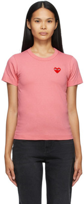 Comme des Garcons Pink Heart Patch T-Shirt