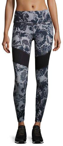 The North Face Motivation Mesh Performance Leggings, Black Roses Print