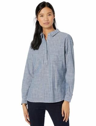 Goodthreads Washed Cotton Popover Shirt Dark Blue/White Pinstripe XXL
