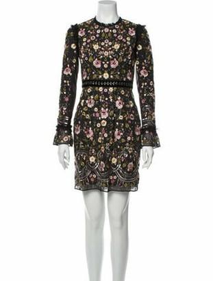 Needle & Thread Floral Print Mini Dress Black