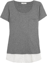 CLU Satin-trimmed cotton T-shirt
