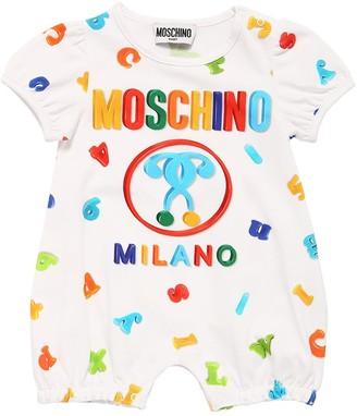 Moschino All Over Print Cotton Interlock Romper