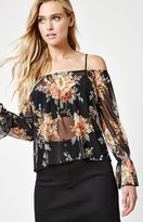 La Hearts Long Sleeve Off-The-Shoulder Mesh Top