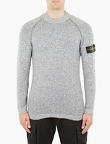 Stone Island Grey Alpaca Blend Reversible Sweater