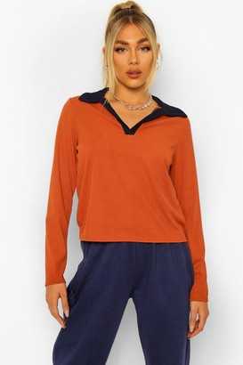 boohoo Rib Colour Block Polo Top