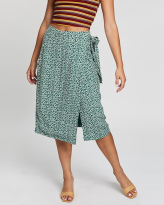 Glamorous Women's Green Midi Skirts - Squiggle Skirt - Size 8 at The Iconic