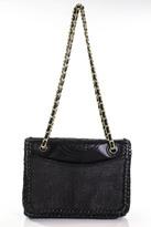 Tory Burch Black Straw Gold Tone Leather Contrast Fleming Shoulder Handbag New